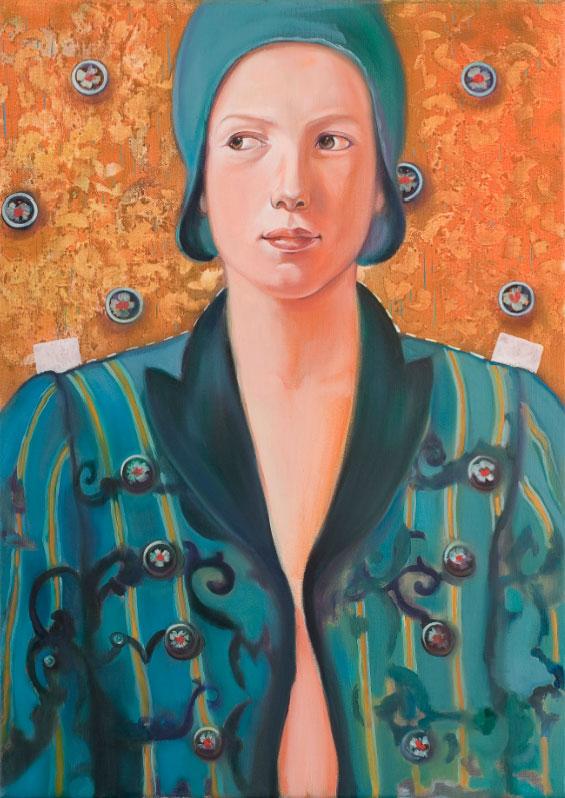 Abbottonata - olio su tela / oil on canvas, cm 50x70